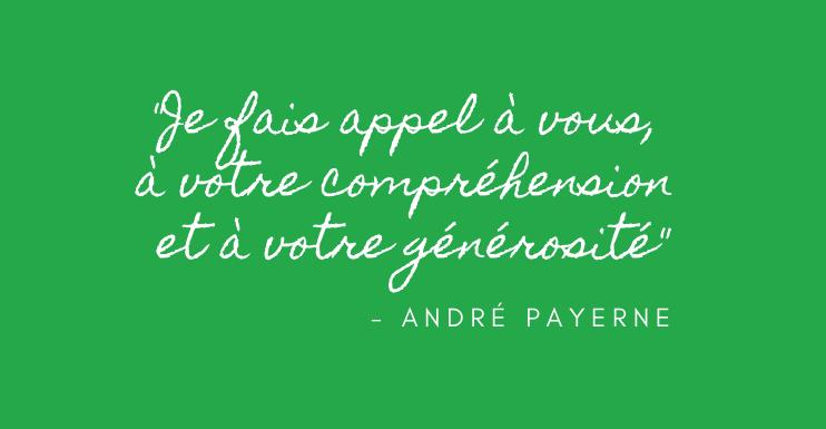 Un message d'André Payerne